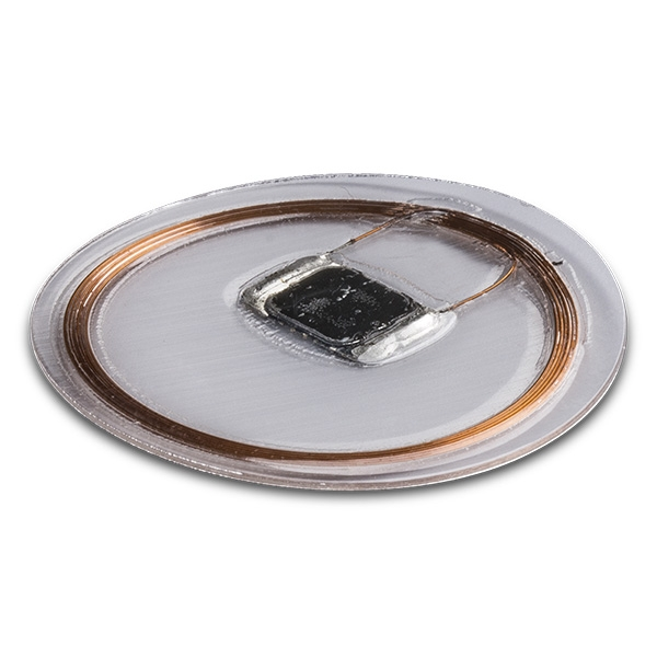 Embeddable RFID electronics sealed in a transparent plastic coating.